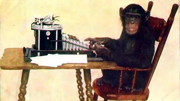 apekatt på skrivemaskin